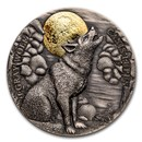 2020 Niue 2 oz Silver Wildlife in the Moonlight: Gray Wolf