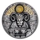 2020 Niue 3 oz Antique Silver Divine Faces Of The Sun; Amun-Ra