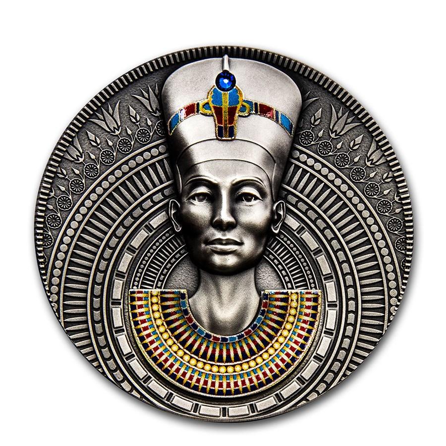 2020 Niue 3 oz Antique Silver Nefertiti