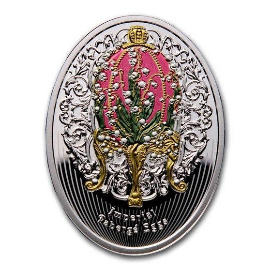 2020 Niue Silver Fabergé Eggs Lilies Of The Valley Egg