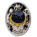 2020 Niue Silver Faberge Eggs Blue Tsarevich Constellation Egg