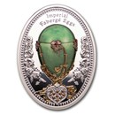 2020 Niue Silver Faberge Eggs Steel Pansy Egg