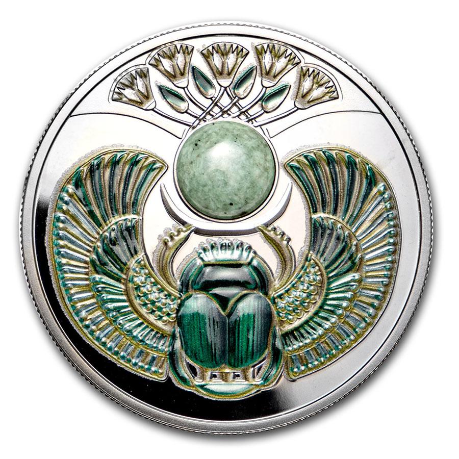 2020 Niue $1 Sapphire Scarabaeus 1//2 oz Silver Coin w//Gemstone Mintage 999