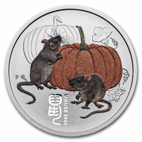 2020-P Australia 1/4 oz Silver Lunar Mouse BU (Colorized)