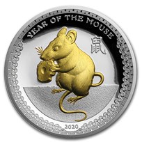 2020 Palau 1 oz Silver $5 Year of the Mouse Proof (Gilded Gold)