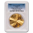 2020 Palau 1 oz Silver Gold Gilded Finish Fortune MS-70 PCGS FDOI