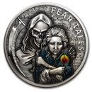 2020 Palau 2 oz Antique Silver Fear Tales: Little Match Girl