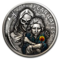 2020 Palau 2 oz Antique Silver Fear Tales: Little Match Girl