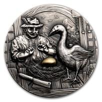 2020 Palau 2 oz Silver Antique Goose That Laid the Golden Egg
