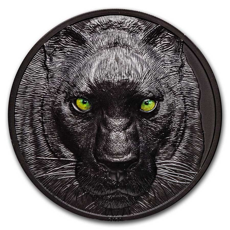2020 Palau 2 oz Silver Hunters by Night; Black Panther