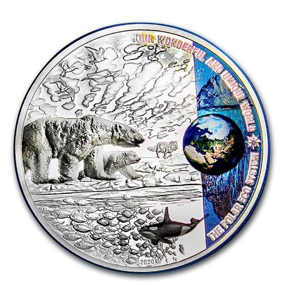 2020 Palau 2 oz Silver Proof Our Earth (Polar Ecosystems)