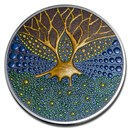 2020 Palau 3 oz Silver Proof Dot Art: Tree of Life