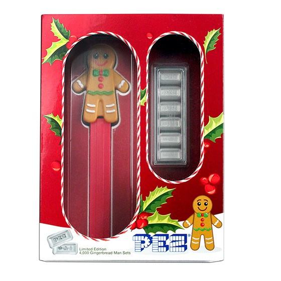 2020 PEZ® Gift Set w/Gingerbread Dispenser & 6x 5g Silver Wafers