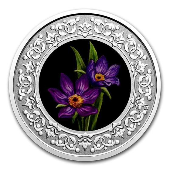2020 RCM 1/4 oz Ag $3 Floral Emblems - Manitoba: Prairie Crocus