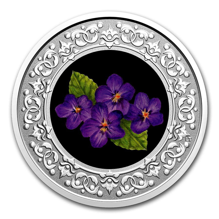 2020 RCM 1/4 oz Ag $3 Floral Emblems - New Brunswick: Violet