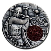 2020 Rep. of Cameroon 2 oz Antique Silver Templar's Treasure
