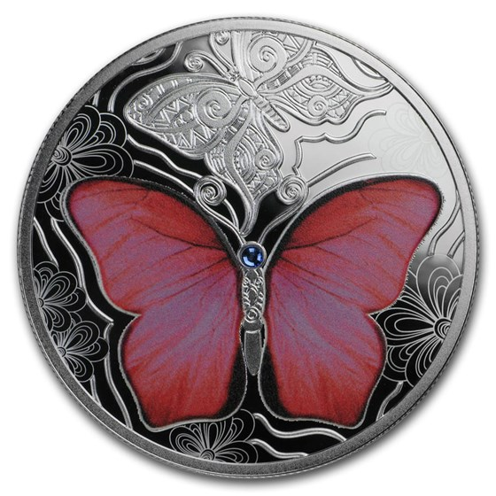 2020 Rep. of Cameroon Silver Colorful World of Butterflies: Red