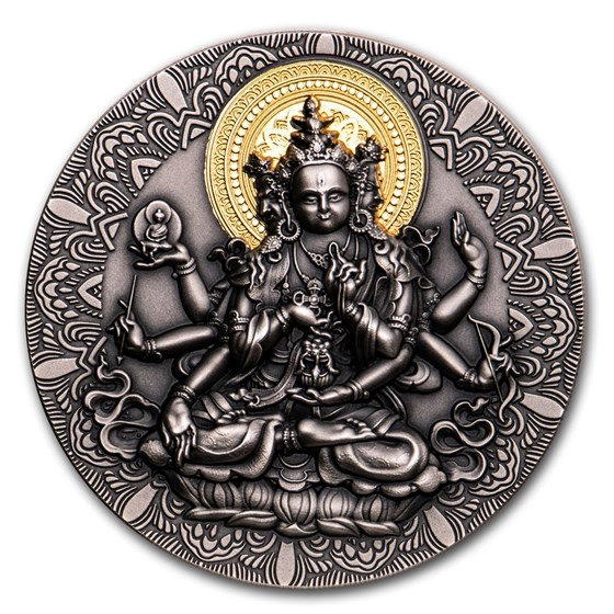 2020 Republic of Cameroon 2 oz Silver Antique Ancient Buddha