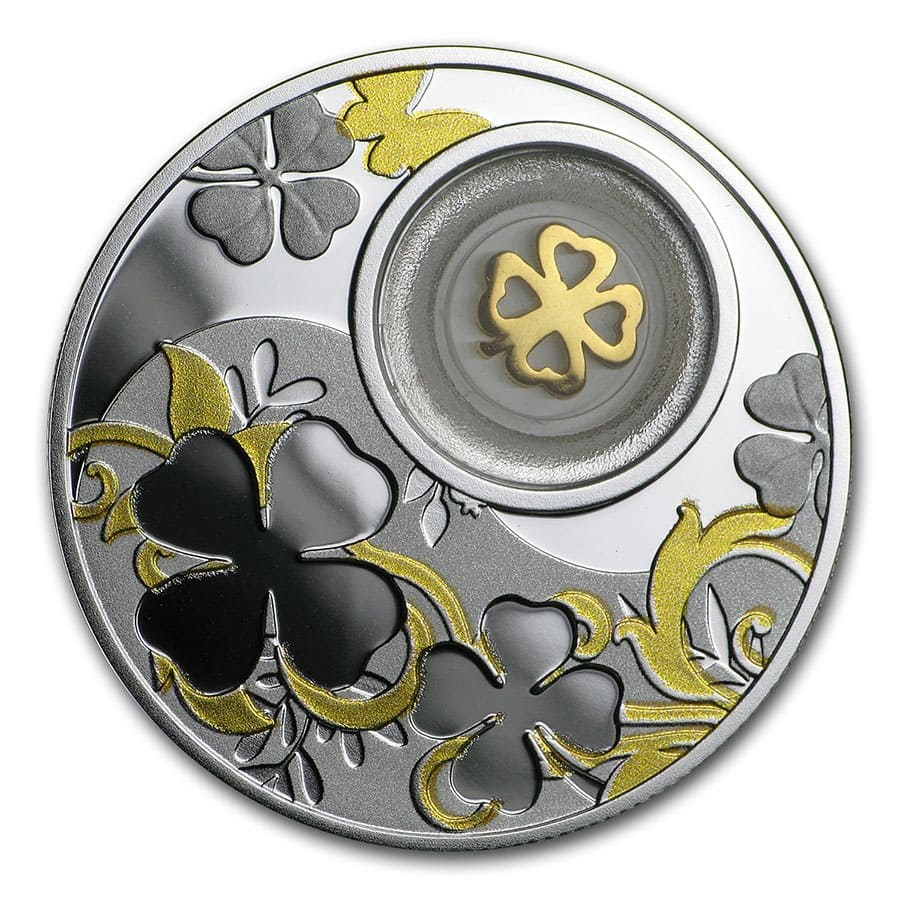 2020 Republic of Cameroon Silver Proof Lucky Four-Leaf Clover