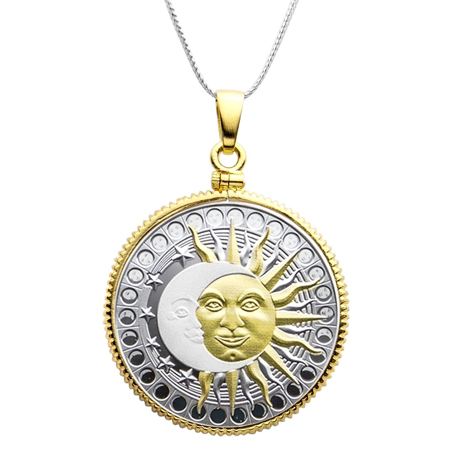 2020 Republic of Cameroon Silver Sun and Moon Pendant