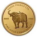 2020 Republic of Chad 1 oz Gold Mandala Buffalo BU