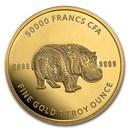 2020 Republic of Chad 1 oz Gold Mandala Hippo BU