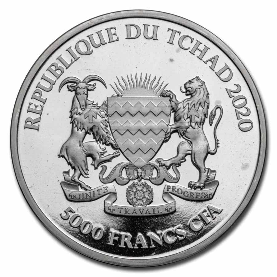 2020 Republic of Chad MANDALA HIPPO 1 oz Silver Coin BU .999 In Mint Capsule!