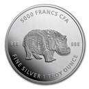 2020 Republic of Chad 1 oz Silver Mandala Hippo BU