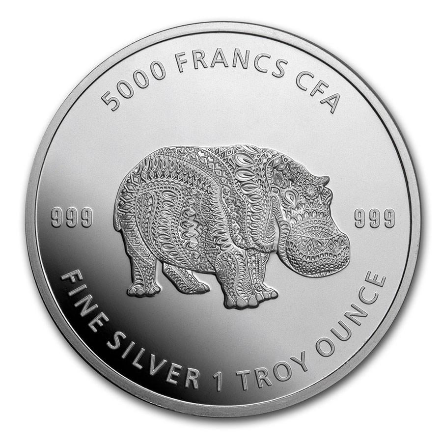 2020 Republic of Chad 1 oz Silver Mandala Hippo BU