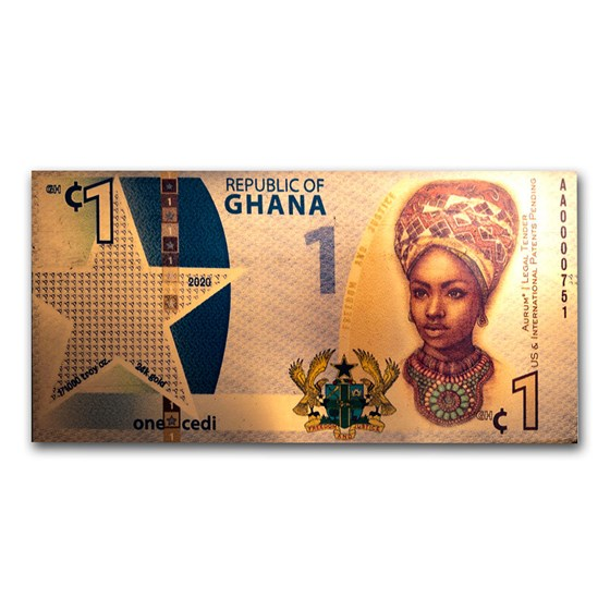 2020 Republic of Ghana 1/1000 oz Gold African Liberty Foil Note