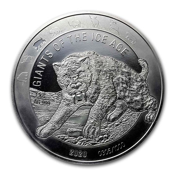 2020 Republic of Ghana 1 Kilo Silver Saber Toothed Cat BU