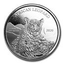 2020 Republic of Ghana 1 oz Silver 5 Cedi African Leopard BU