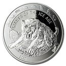 2020 Republic of Ghana 1 oz Silver Saber Toothed Cat BU