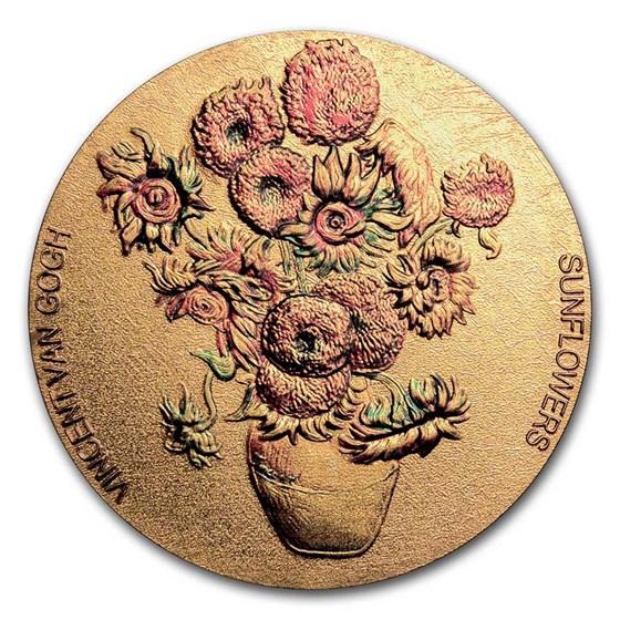 2020 Republic of Ghana 2 oz Silver Vincent Van Gogh - Sunflowers