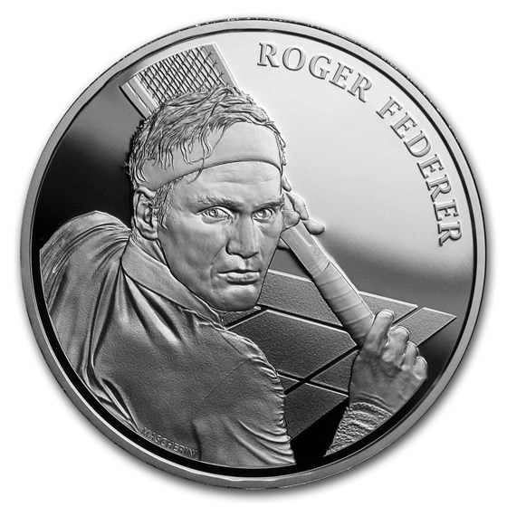 2020 Roger Federer Switzerland Silver 20 CHF Proof w/ Artist COA
