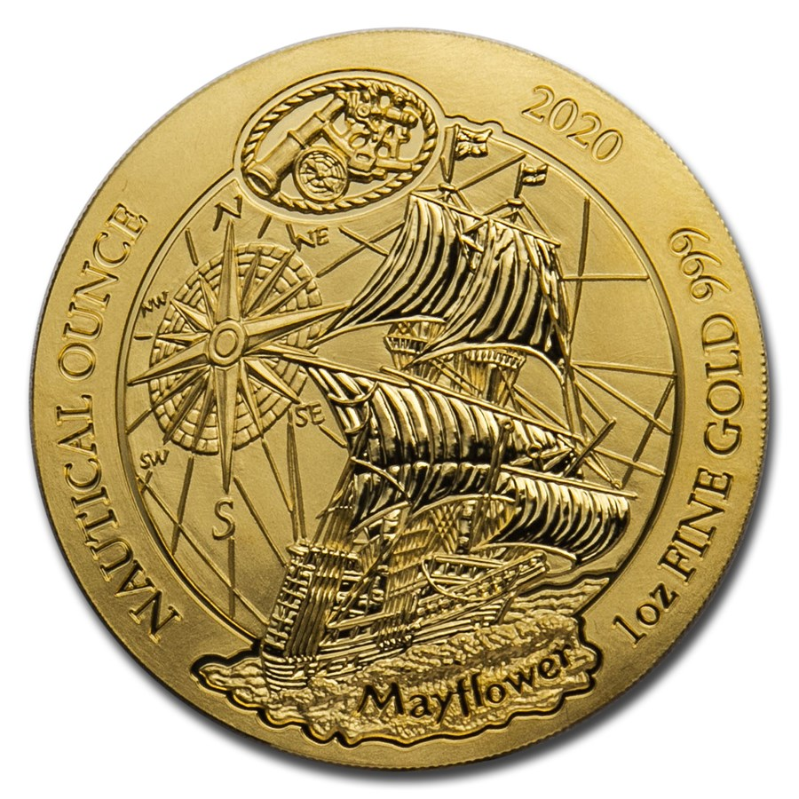 2020 Rwanda 1 oz Gold Nautical Ounce Mayflower BU
