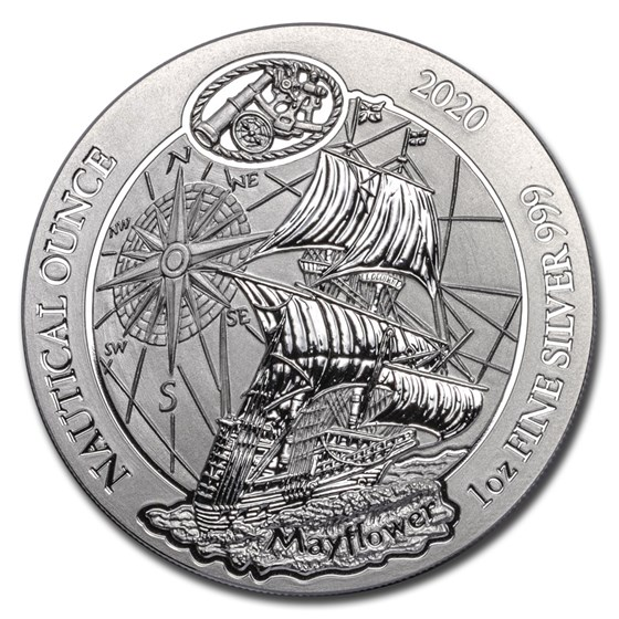 2020 Rwanda 1 oz Silver Nautical Ounce Mayflower BU