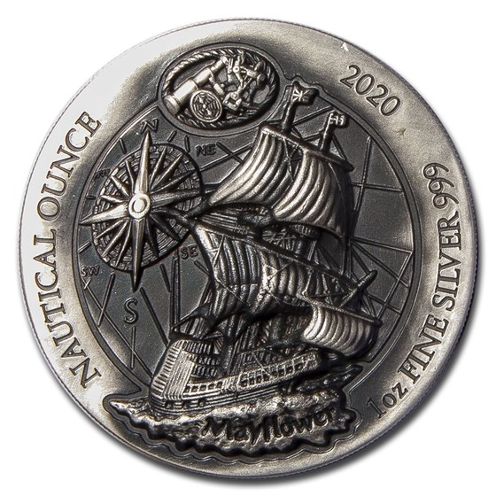 2020 Rwanda 1 oz Silver Nautical Ounce Mayflower (HR) (Antiqued)
