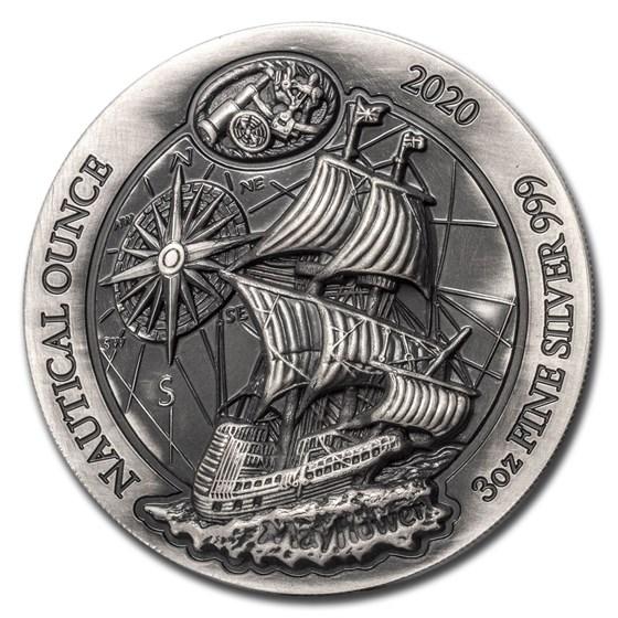 2020 Rwanda 3 oz Silver Nautical Ounce Mayflower (HR) (Antiqued)