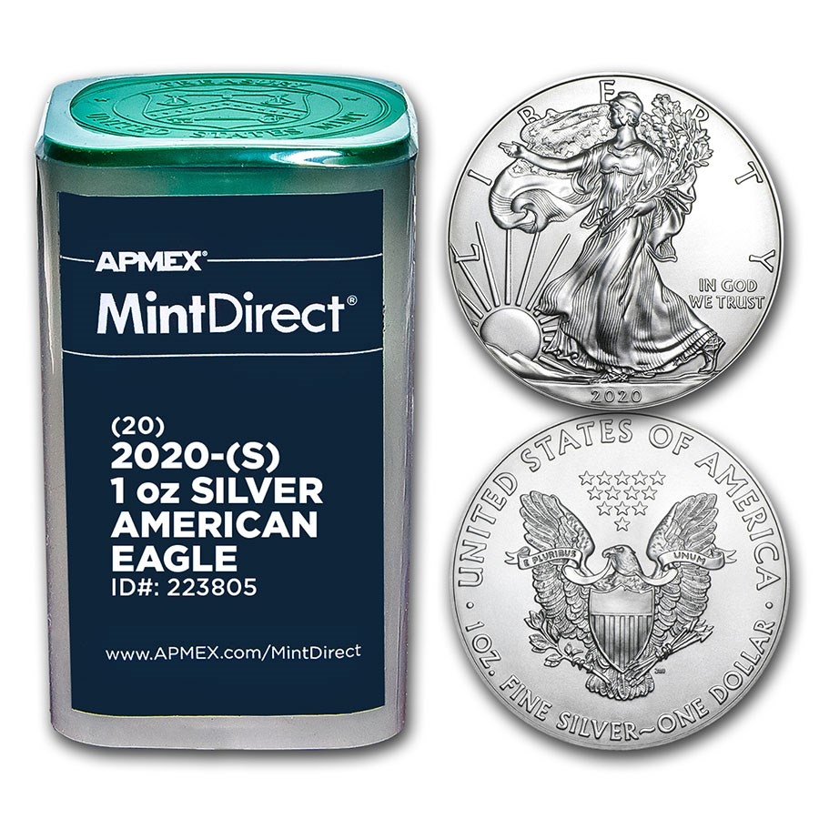 2020-(S) 1 oz American Silver Eagles (20-Coin MintDirect® Tube)