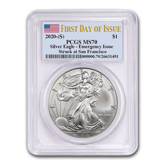 2020 (S) American Silver Eagle MS-70 PCGS (First Day of Issue)