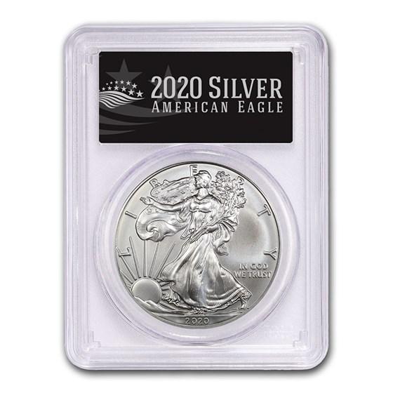 2020 (S) American Silver Eagle MS-70 PCGS (FS, Black Label)