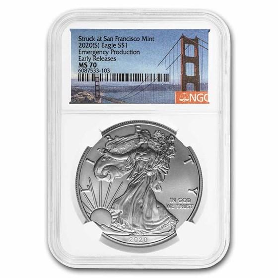 2020 (S) Silver Eagle MS-70 NGC (Golden Gate Bridge Label)