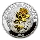 2020 Samoa 1 oz Silver Golden Flower Collection: Rose