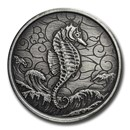 2020 Samoa 1 oz Silver Seahorse (Antique Finish)