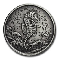 2020 Samoa 1 oz Silver Seahorse (Antique Finish)
