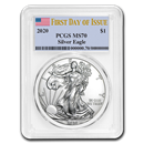 2020 Silver American Eagle MS-70 PCGS (First Day of Issue)