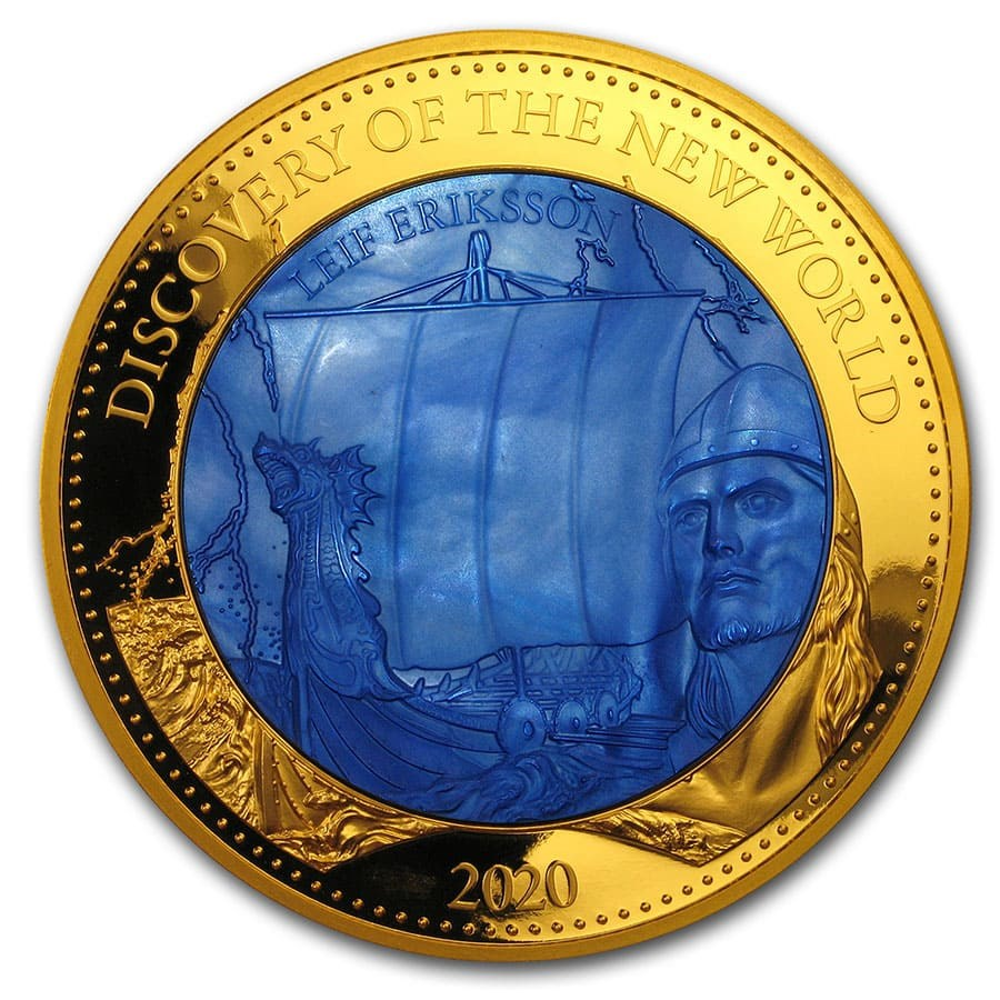 2020 Solomon Island 5 oz Gold Mother of Pearl Discovery New World