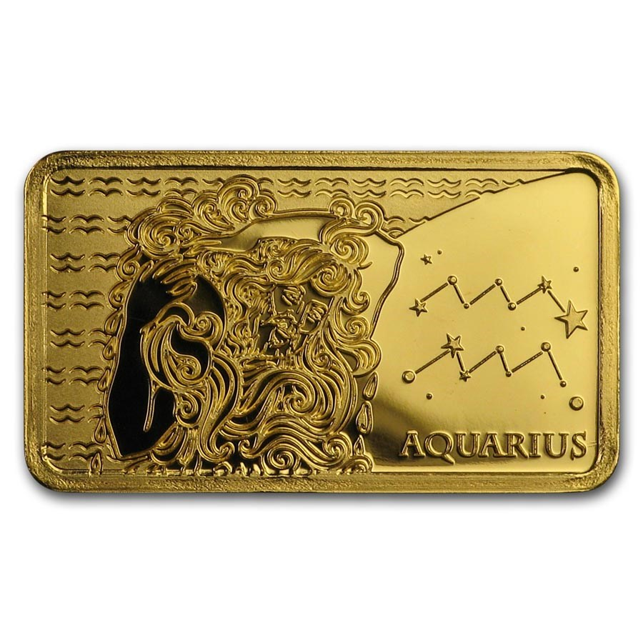 2020 Solomon Islands 1/2 Gram Gold Zodiac Ingot (Aquarius)