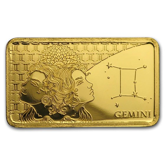 2020 Solomon Islands 1/2 Gram Gold Zodiac Ingot (Gemini)